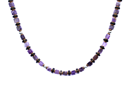 BELLASIX ® 1652-K necklace collier, 925 silver / lobster clasp, amethyst, smoky quartz, hematine