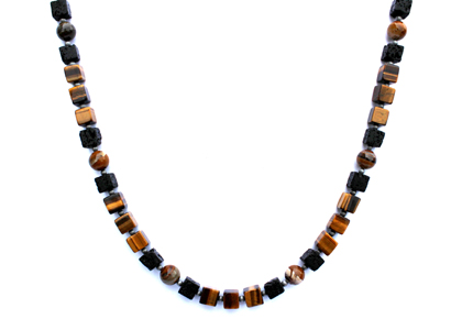 BELLASIX ® 1667-K necklace collier, 925 silver / lobster clasp, tiger eye, tiger iron, lava, hematine