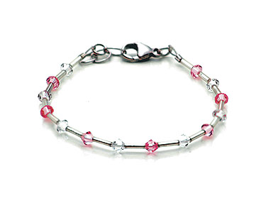 SWAROVSKI (R) crystals in combination with: BELLASIX (R) 1772-A bracelet rose / rose 925 silver clasp