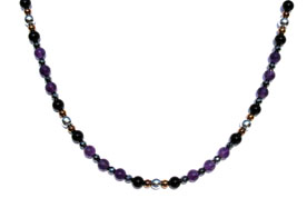 BELLASIX ® 1610-K necklace collier, 925 silver / lobster clasp, amethyst, onyx, hematine