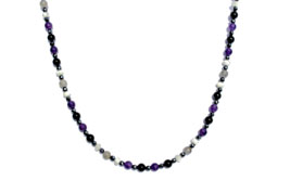 BELLASIX ® 1612-K necklace collier, 925 silver / lobster clasp, amethyst, onyx, labradorite, pearl, hematine