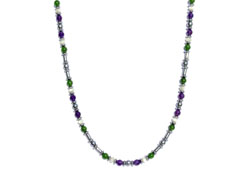 BELLASIX ® 1613-K necklace collier, 925 silver / lobster clasp, amethyst, jade, pearl, hematine