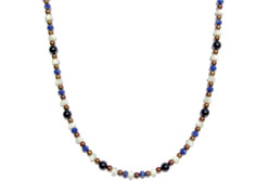 BELLASIX ® 1614-K necklace collier, 925 silver / lobster clasp, lapis lazuli, pearl, onyx, hematine