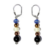 BELLASIX ® 1614-O earrings, 925 silver / lobster clasp, lapis lazuli, pearl, onyx, hematine