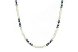 BELLASIX ® 1615-K necklace collier, 925 silver / lobster clasp, lapis lazuli, jade, pearl, hematine