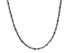 BELLASIX ® 1616-K necklace collier, 925 silver / lobster clasp, lapis lazuli, hematine