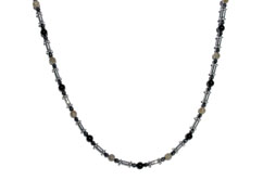 BELLASIX ® 1617-K necklace collier, 925 silver / lobster clasp, labradorite, onyx, hematine
