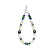 BELLASIX ® 1619-A bracelet, 925 silver / lobster clasp, lapis lazuli, jade, pearl, fresh water cultivated pearl, hematine