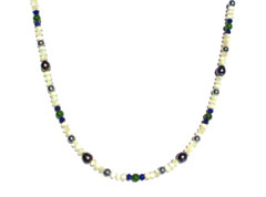 BELLASIX ® 1619-K necklace collier, 925 silver / lobster clasp, lapis lazuli, jade, pearl, fresh water cultivated pearl, hematine