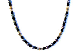 BELLASIX ® 1620-K necklace collier, 925 silver / lobster clasp, labradorite, onyx, fresh water cultivated pearl, hematine