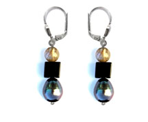 BELLASIX ® 1620-O earrings, 925 silver / lobster clasp, labradorite, onyx, fresh water cultivated pearl