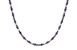 BELLASIX ® 1621-K necklace collier, 925 silver / lobster clasp, amethyst, pearl, hematine