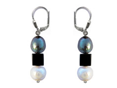 BELLASIX ® 1622-O earrings, 925 silver / lobster clasp, fresh water cultivated pearl, Onyx, hematine