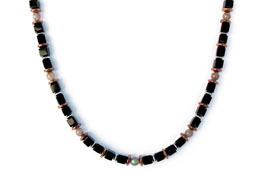 BELLASIX ® 1623-K necklace collier, 925 silver / lobster clasp, onyx, labradorite, hematine