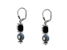BELLASIX ® 16241-O earrings, 925 silver / lobster clasp, fresh water cultivated pearl, onyx, hematine