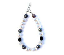 BELLASIX ® 1624-A bracelet, 925 silver / lobster clasp, fresh water cultivated pearl, onyx, hematine