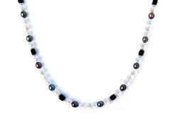 BELLASIX ® 1624-K necklace collier, 925 silver / lobster clasp, fresh water cultivated pearl, onyx, hematine