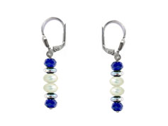 BELLASIX ® 16254-O earrings, 925 silver / lobster clasp, lapis lazuli, pearl, hematine