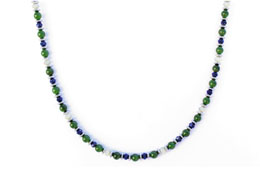 BELLASIX ® 1625-K necklace collier, 925 silver / lobster clasp, lapis lazuli, jade, pearl, hematine