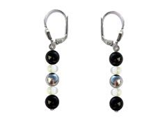 BELLASIX ® 16261-O earrings, 925 silver / lobster clasp, onyx, pearl, hematine