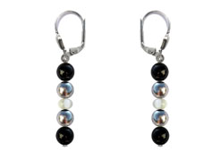 BELLASIX ® 16262-O earrings, 925 silver / lobster clasp, onyx, pearl, hematine