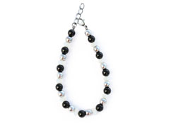 BELLASIX ® 1626-A bracelet, 925 silver / lobster clasp, onyx, pearl, hematine