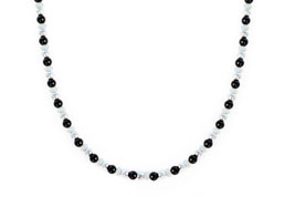 BELLASIX ® 1626-K necklace collier, 925 silver / lobster clasp, onyx, pearl, hematine