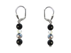 BELLASIX ® 1626-O earrings, 925 silver / lobster clasp, onyx, pearl, hematine