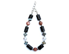 BELLASIX ® 1627-A bracelet, 925 silver / lobster clasp, labradorite, fresh water cultivated pearl, sunstone, sardonyx, hematine