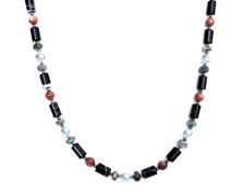 BELLASIX ® 1627-K necklace collier, 925 silver / lobster clasp, labradorite, fresh water cultivated pearl, sunstone, sardonyx, hematine