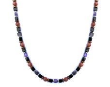 BELLASIX ® 1628-K necklace collier, 925 silver / lobster clasp, amethyst, onyx, sunstone, hematine