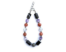 BELLASIX ® 1629-A bracelet, 925 silver / lobster clasp, amethyst, labradorite, sunstone, sardonyx, fresh water cultivated pearl, hematine