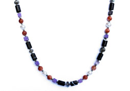 BELLASIX ® 1629-K necklace collier, 925 silver / lobster clasp, amethyst, labradorite, sunstone, sardonyx, fresh water cultivated pearl, hematine