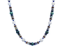 BELLASIX ® 1631-K necklace collier, 925 silver / lobster clasp, mountain crystal, lapis lazuli, labradorite, apatite, hematine