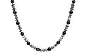 BELLASIX ® 1632-K necklace collier, 925 silver / lobster clasp, labradorite. Onyx, hematine