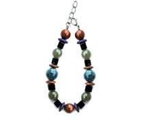 BELLASIX ® 1633-A bracelet, 925 silver / lobster clasp, jade, onyx, tiger iron, apatite, hematine