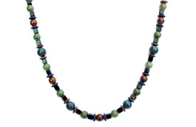 BELLASIX ® 1633-K necklace collier, 925 silver / lobster clasp, jade, onyx, tiger iron, apatite, hematine