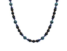 BELLASIX ® 1634-K necklace collier, 925 silver / lobster clasp, lapis lazuli, onyx, apatite, hematine