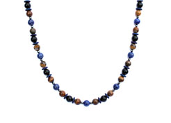 BELLASIX ® 1635-K necklace collier, 925 silver / lobster clasp, lapis lazuli, onyx, tiger iron, hematine
