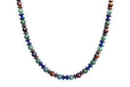 BELLASIX ® 1636-K necklace collier, 925 silver / lobster clasp, jade, lapis lazuli, tiger iron, hematine