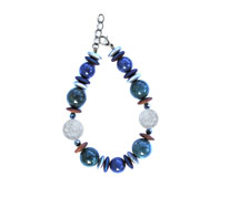 BELLASIX ® 1637-A bracelet, 925 silver / lobster clasp, mountain crystal, lapis lazuli, apatite, hematine