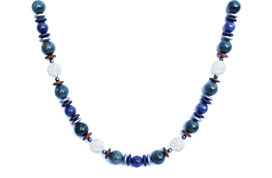 BELLASIX ® 1637-K necklace collier, 925 silver / lobster clasp, mountain crystal, lapis lazuli, apatite, hematine