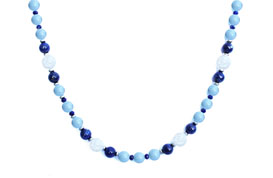 BELLASIX ® 1638-K necklace collier, 925 silver / lobster clasp, mountain crystal, lapis lazuli, aquamarine, hematine