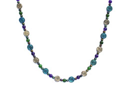 BELLASIX ® 1640-K necklace collier, 925 silver / lobster clasp, jade, amethyst, hematine