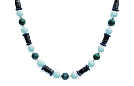 BELLASIX ® 1641-K necklace collier, 925 silver / lobster clasp, aquamarine, sardonyx, chrysokolla, hematine