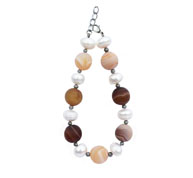 BELLASIX ® 1642-A bracelet, 925 silver / lobster clasp, agate, fresh water cultivated pearl, hematine