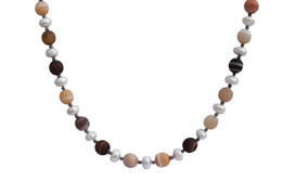 BELLASIX ® 1642-K necklace collier, 925 silver / lobster clasp, agate, fresh water cultivated pearl, hematine