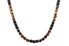 BELLASIX ® 1644-K necklace collier, 925 silver / lobster clasp, tiger eye, lava, hematine