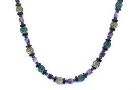 BELLASIX ® 1646-K necklace collier, 925 silver / lobster clasp, amethyst, smoky quartz, hematine