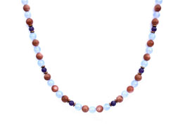BELLASIX ® 1648-K necklace collier, 925 silver / lobster clasp, chalcedony, amethyst, sunstone, hematine